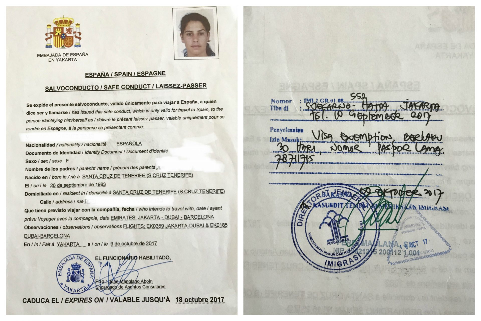 Pérdida del pasaporte en Indonesia